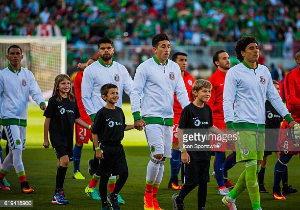 Mexico and Chile players enter onto the field during the Copa America Centerario Quarterfinal match between Mexico versus Chile at Levi's Stadium in...