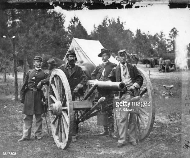 Captain John T Tidball of the Union Army poses with his staff at Fair Oakes Virginia during the American Civil War