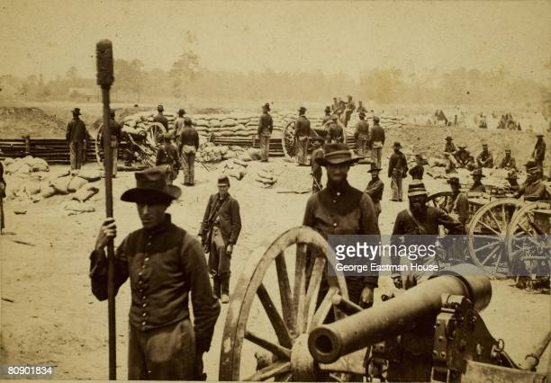 June 1864 A view of some members of Captain Rufus D Pettit's Battery 1st New York Light Artillery while at Fort Richardson at Quarles House Near Fair...