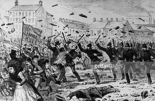 Police charging demonstrators in the Brickfields during the Belfast riots of 1886 The crowd are carrying banners reading 'No Home Rule' Original...