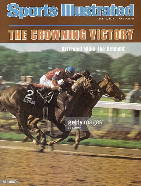 June 19 1978 Sports Illustrated Cover Horse Racing The Belmont Stakes Steve Cauthen winning race aboard Affirmed in action vs Jorge Velasquez aboard...