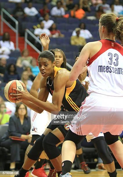 Vicki Baugh of the Tulsa Shock moves in on Emma Meesseman of the Washington Mystics during a WNBA game at Verizon Center in Washington DC Tulsa won...