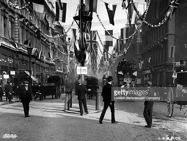 Decorations for the coronation of Edward VII in Queen Victoria Street London