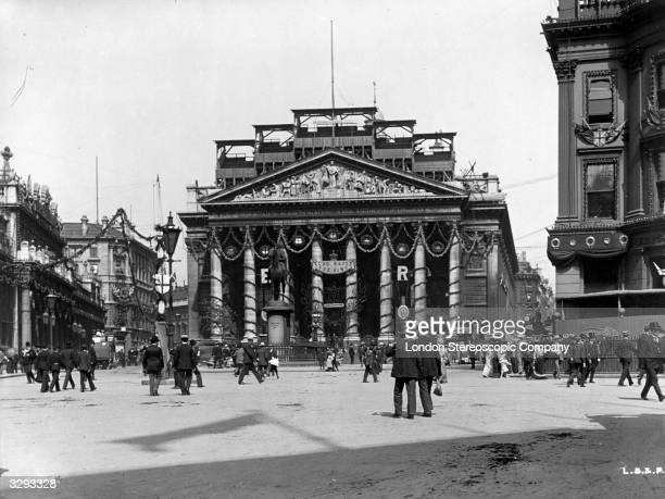 The Royal Exchange London with decorations for the coronation of Edward VII