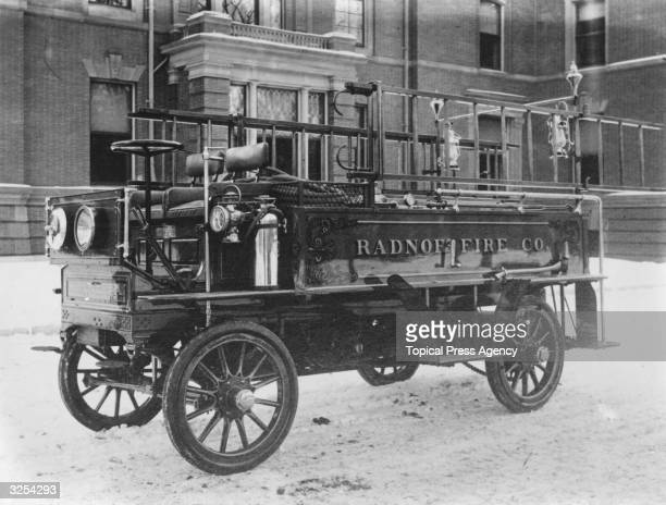 A combination auto chemical ladder truck and horse wagon by Chac Ponkins Co designed to fight fires