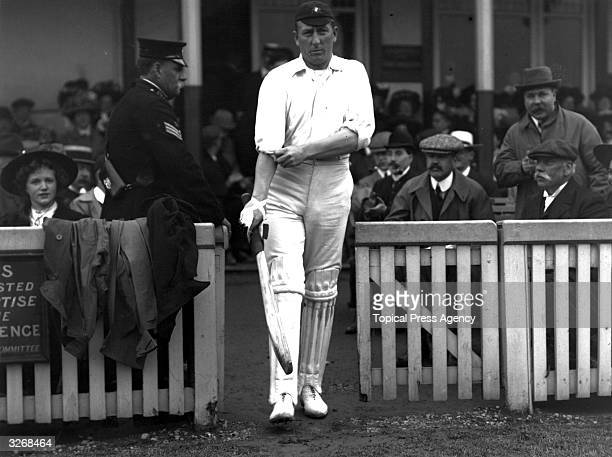 The Australian cricketing allrounder Warwick Armstrong coming out to bat during the Australia Vs England First Test Match at Birmingham