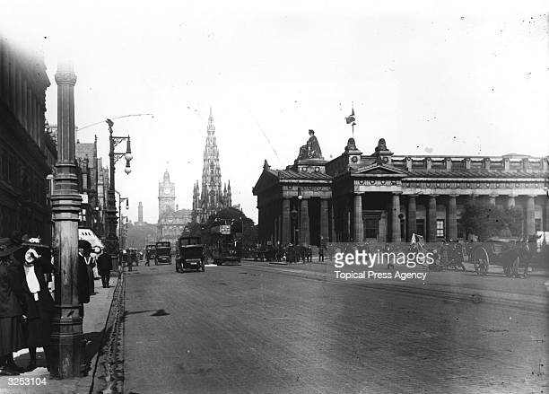 A view of Princes Street in Edinburgh showing the Royal Institute and the Scott Monument Princes Street named after George III's sons was designed by...