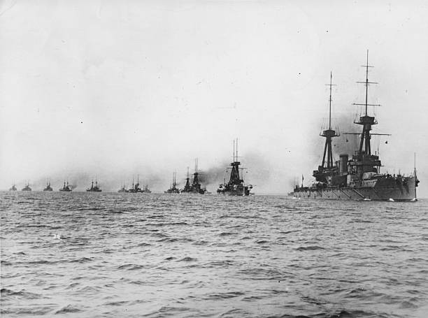 The British Fleet, headed by HMS 'Neptune', steaming...