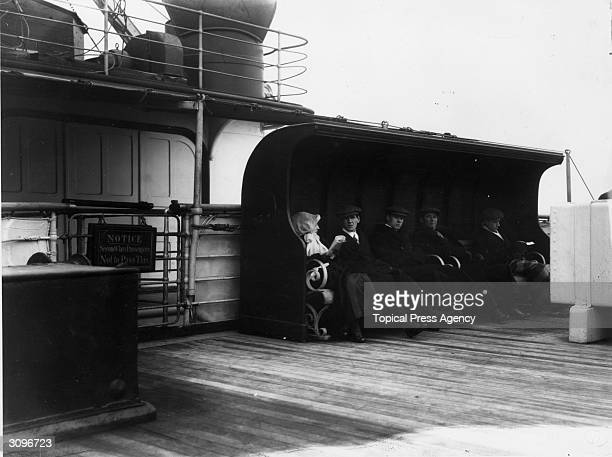 Passengers on the second class deck of the RMS Lusitania
