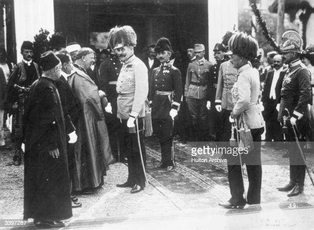 Archduke Franz Ferdinand of Austria talking to representatives of the Catholic Church in Sarajevo shortly before he was assassinated