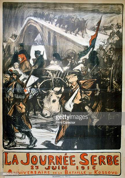 June 1916 - Serbia Day', French World War I poster, 1916. Soldiers and civilians carry their possessions across a snow-covered bridge. The poster...