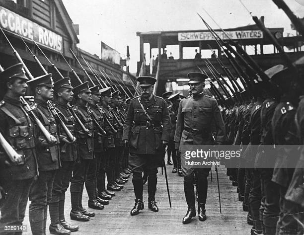 American General John Pershing and British General Sir William Pitcairn Campbell inspecting Welsh troops at the landing stage where they formed a...