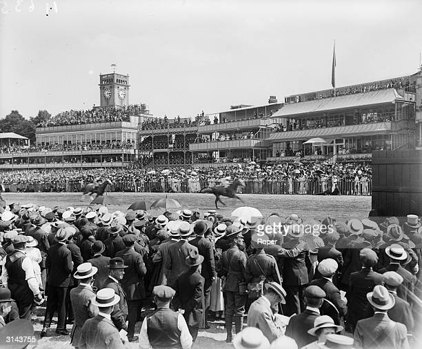 Spectators at the Royal Ascot Races get a good view of the racecourse.