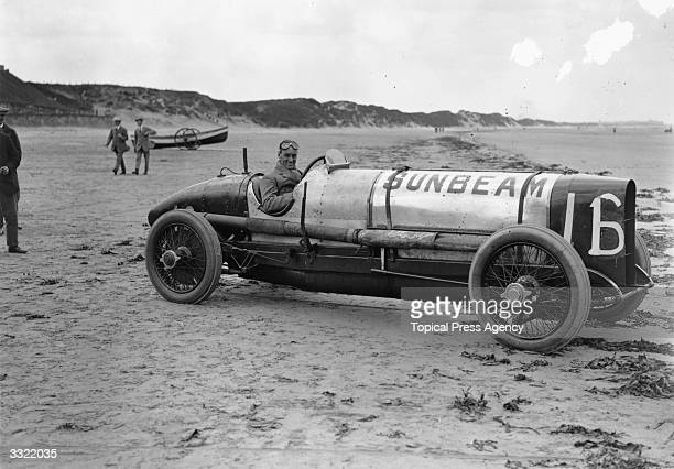 Captain Malcolm Campbell in his Sunbeam racing car on the beach at Saltburn He later went on to hold both the land and water speed records