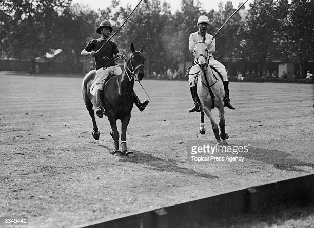 Edward Prince of Wales playing polo at Hurlingham in a match between Oxford and Cambridge