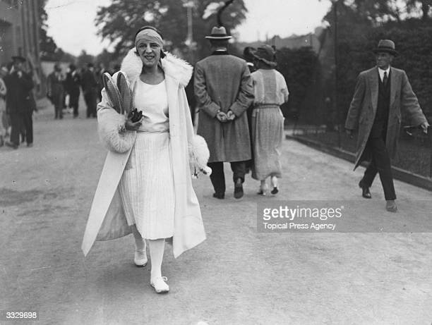 French tennis player Suzanne Lenglen at Wimbledon during the tennis championships.