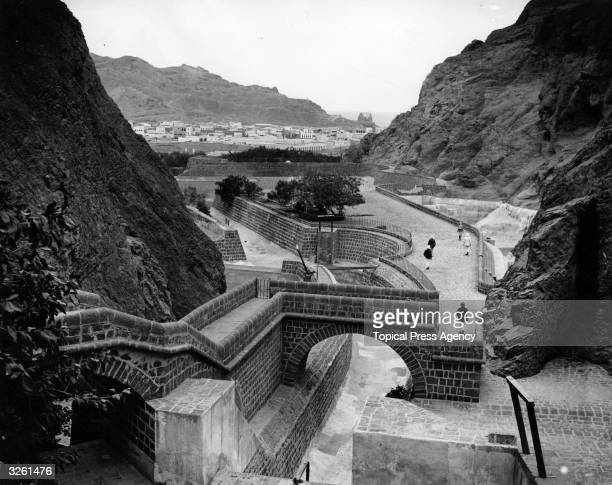 One of the tanks specially constructed at the British coaling depot in Aden to catch rain water As it hardly ever rains in Aden none of the nine...