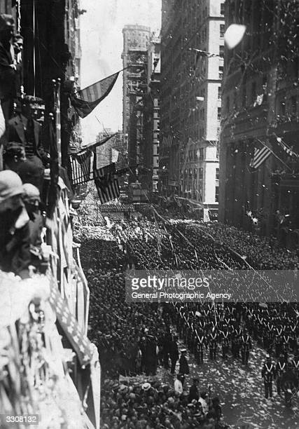 A tickertape parade on Broadway New York to welcome home US aviator Charles Lindbergh following his nonstop solo Atlantic flight from New York to...