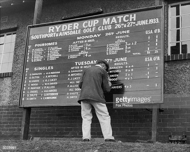 The scoreboard during the Ryder Cup match between American and British professional golfers at Southport The cup went to Great Britain