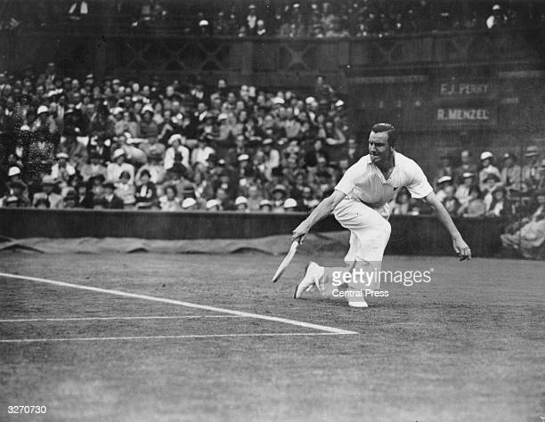 British tennis player Fred Perry in action against Roderick Menzel at Wimbledon.