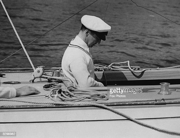 The Crown Prince of Norway later King Olaf V takes part in the International Coronation Regatta at Torbay He was an expert helmsman