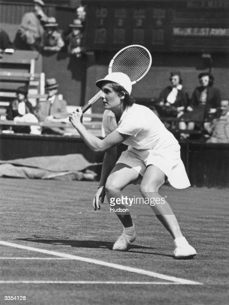 British tennis player Kay Stammers in action for Britain against America during the Wightman Cup