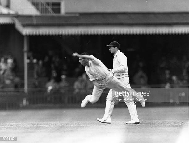 Cricketer J Cornford of Sussex bowling during a match against Essex