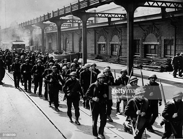 French marines and soldiers arriving in a south coast town in England after evacuation from Dunkirk