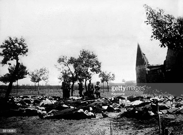Rows of murdered citizens from the village of Lidice near Prague Czechoslovakia laid out to be buried in a mass grave The Germans razed the village...