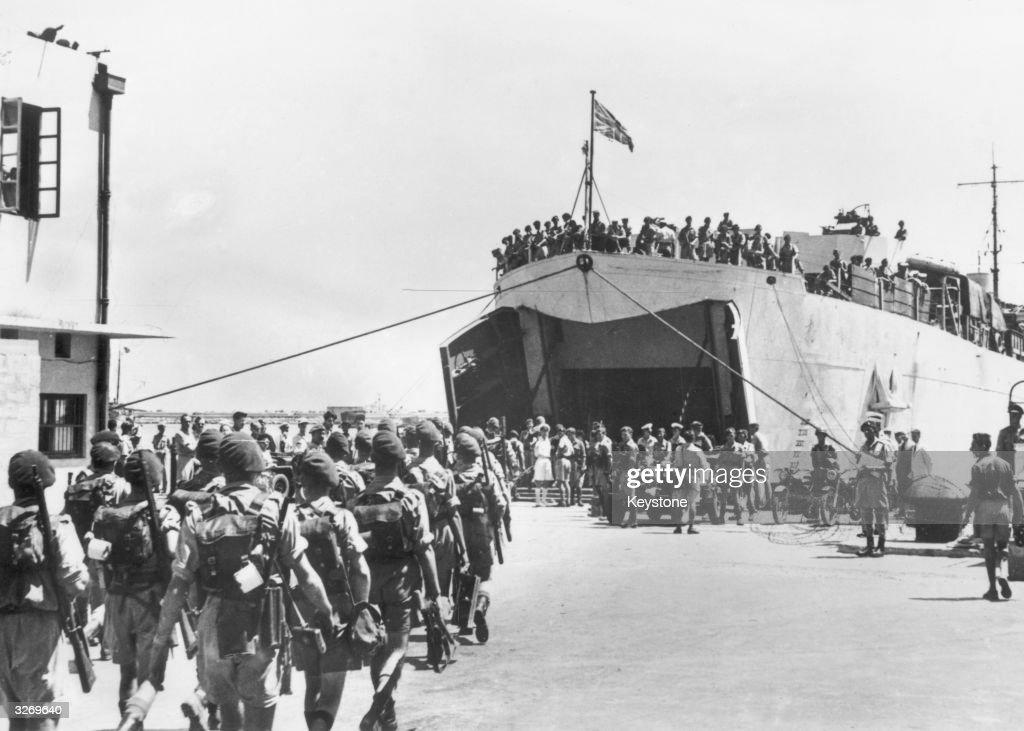 The last of the British troops leave Haifa, Palestine.