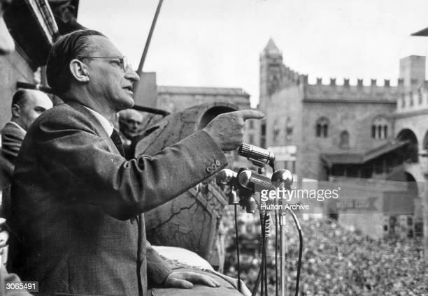Italian politician Alcide De Gasperi in Bologna