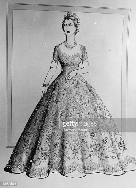 Norman Hartnell design of Queen Elizabeth's dress for the Coronation ceremony. Original Publication: Picture Post - 6540 - Under The Red Robe - pub....