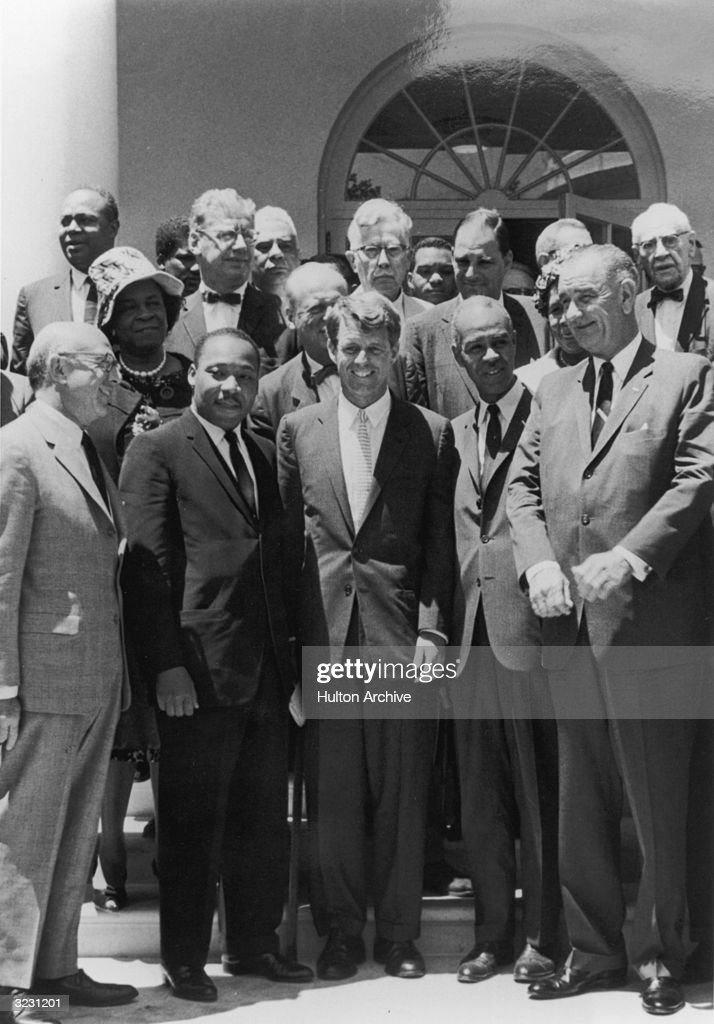 Benjamin R. Epstein, National Director of the Anti-Defamation League B'nai B'rith, civil rights leader Martin Luther King Jr. (1929 - 1968), US Attorney General Robert F. Kennedy, Roy Wilkins of the NAACP and US Vice President Lyndon B. Johnson outside the White House.