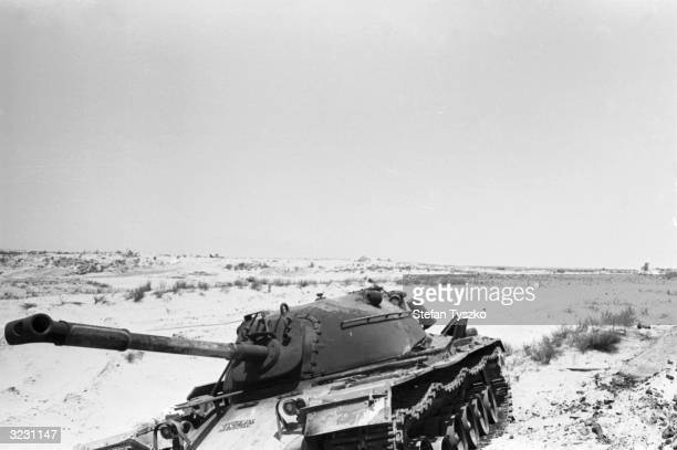 A burnt out Syrian tank a casualty of the Israeli advance into Syria during the Six Day War