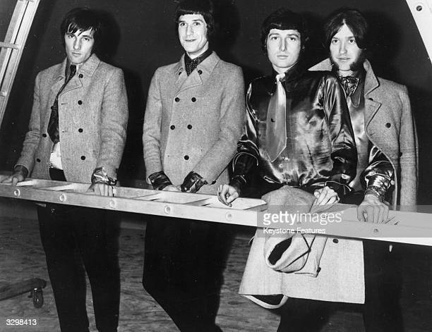 English pop group The Kinks whose latest disc 'Waterloo Sunset' is number 2 in the charts from left to right Mick Avory Ray Davies Peter Quaife and...