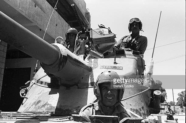 Israeli tank crew on patrol in Gaza where a curfew is in force during the Six Day War