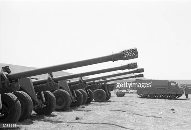 Syrian guns captured as part of the Israeli advance into Syria during the Arab Israeli Six Day War
