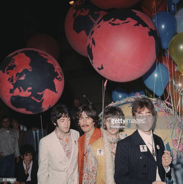 The Beatles at the EMI studios in Abbey Road, as they prepare for 'Our World', a world-wide live television show broadcasting to 24 countries with a...