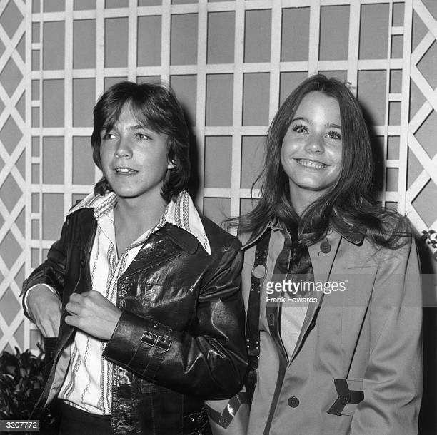 American actors David Cassidy and Susan Dey, costars of the television series 'The Partridge Family,' standing together and smiling while at an ABC...