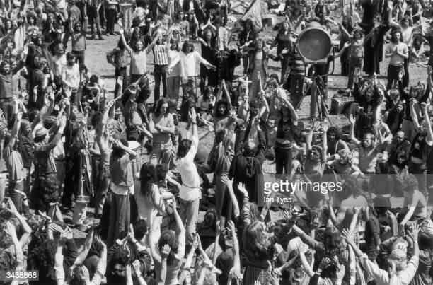 A group of hippies dancing during summer solstice celebrations at the second Glastonbury Festival