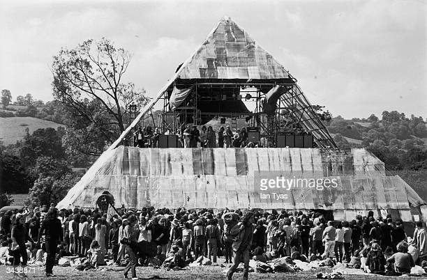 The second annual Glastonbury music festival which saw the first use of a pyramid stage