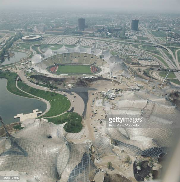 June 1972 from the Olympiaturm or Olympic Tower of the Munich Olympic Park with the Olympic Stadium Olympic Swim Hall and Olympiahalle all in the...