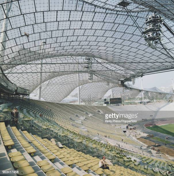 June 1972 view of the recently constructed Olympiastadion located in the Olympiapark undergoing final checks in preparation for the opening and...