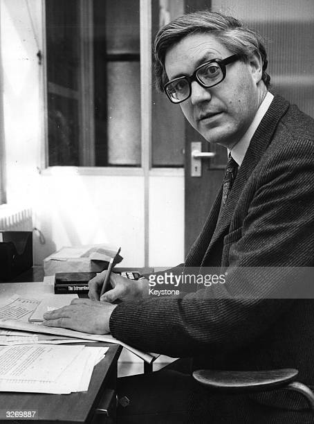 Writer and poet of the Times Literary Supplement Peter Porter seen at his office in London