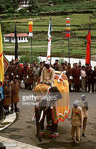 An elephant decked out for the coronation festivites of King Jigme Singye Wangchuk of Bhutan takes its place in the parade through the city of Thimphu