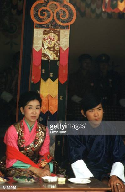 Newly crowned King Jigme Singye Wangchuk of Bhutan and his wife the Queen