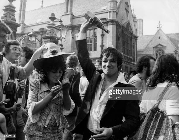Students at Oxford University celebrating the end of their examinations