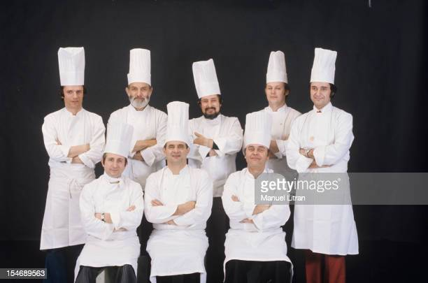 June 1976 the great chefs of French cuisine Standing Paul Minchelli Jean Troisgros Alain SENDERENS JeanPierre BILLOUX Gerard LIFE Seated Michel...