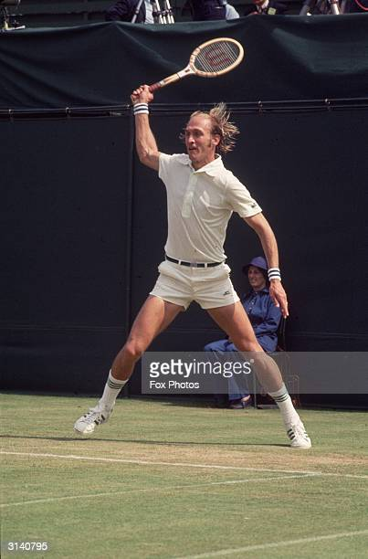 American tennis player Stan Smith in action