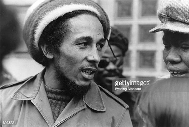 Jamaican reggae singer songwriter and guitarist Bob Marley in London